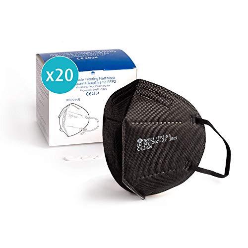 20x Atemschutzmaske FFP2, schwarz, Maske ≥95% EU CE zertifiziert 2834 einzelverpackt im PE-Beutel