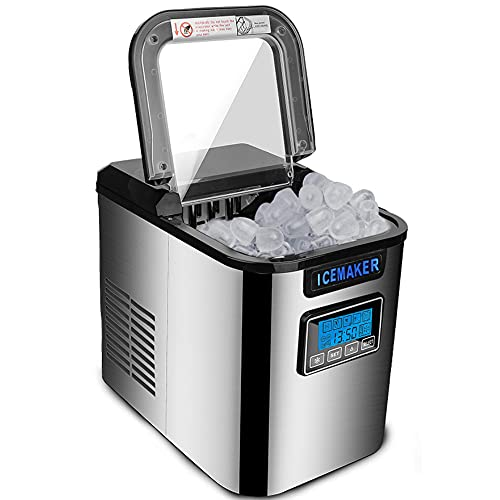 Ureprism Máquina para hacer cubitos de hielo de 150 W, para hacer cubitos de hielo, listo en cubos de hielo de 6 a 13 minutos, 12 kg en 24 horas, incluye cuchara, color negro