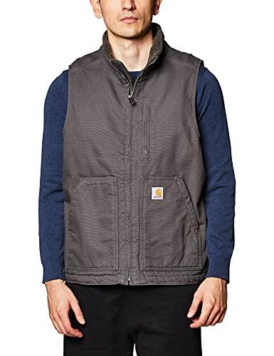 Carhartt Men's Big & Tall Sherpa Lined Mock-Neck Vest, Gravel, Large/Tall