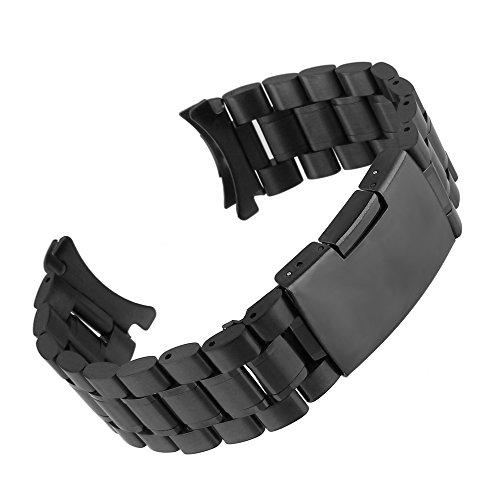 Beauty7 24mm Schwarz Edelstahl Uhrenarmband Uhrenarmbänder mit Faltschließe Metall Uhr Armband
