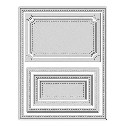 Prosperveil Metall-Stanzformen, liniert, rechteckige Rahmen, Schablone für Kartenherstellung, Scrapbooking, Fotoalbum, Basteln, Hochzeitsdekoration