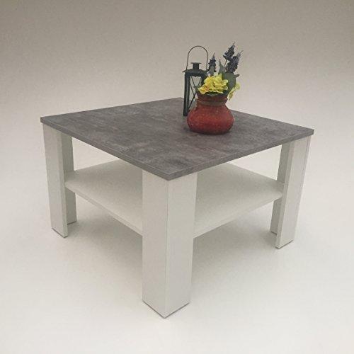 Möbel SD Couchtisch Wohnzimmertisch Kaffeetisch (Jan) Betonoptik - weiß