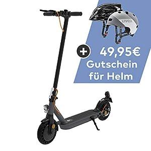 TREKSTOR e.Gear EG3168 E-Scooter mit Straßenzulassung (eKFV), 350 W Motor, 216 Wh Batterie, 18 km Reichweite, 8,5 Zoll Reifen, Stoßgedämpft, Scheibenbremse, nur 14,5kg, 120kg Tragkraft, Klappbar