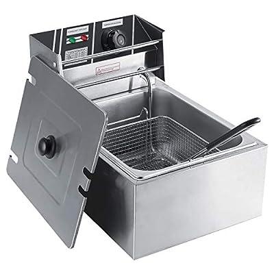 Joycelzen Friteuse, Friteuse électrique en acier inoxydable pour la maison, le restaurant et la restauration, 6L, 2200 W
