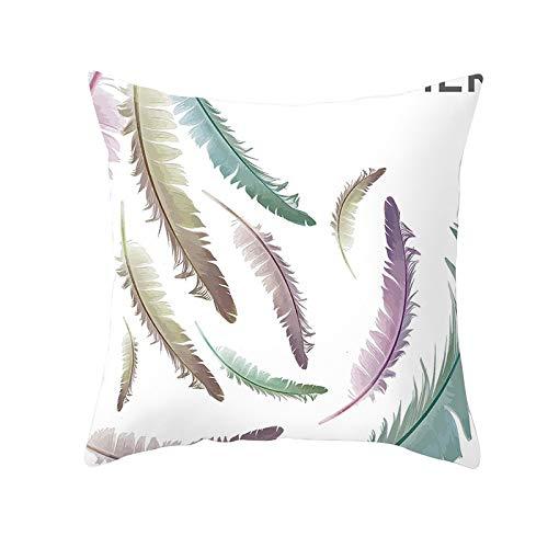 Fundas de Cojín Decorativos Pluma Verde Violeta Cuadradas Terciopelo Suave Funda de Almohada Cubierta para Cojines Sofá Sala de Estar Dormitorio Cama Decor Throw Pillow Case Pillowcase,40x40cm R1653