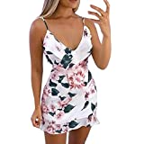 LULU99 Women Dress Bodycon V-Neck Sleeveless Sling Fashion Beach Outdoor Floral Print Spaghetti Strap Mini Dress