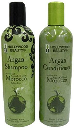 Hollywood Beauty Moroccan Argan Oil Hair Growth Shampoo and Conditioner Set 355 ml by Hollywood Beauty