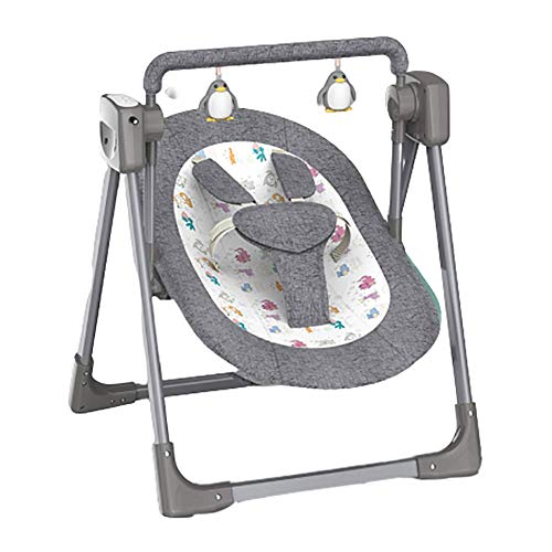 Baby Swing Bluetooth Electric Bouncer Chair Removable Toy Bar Lying Position with Music and Timing Function Folded Infants Seat,Gray