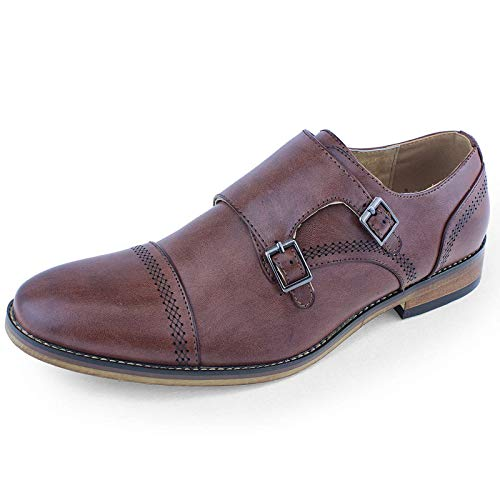 Beston EA28 Men's Double Monk Strap Slip On Dress Shoes Run Half Size Bigger, Color:DARK BROWN, Size:11