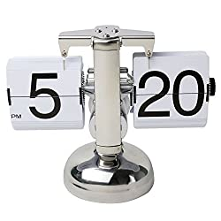 niceeshop(TM) Retro Flip Down Clock Internal Gear Operated,White' With Accessory Cable Tie
