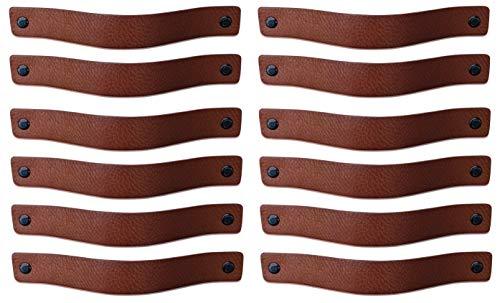 Brute Strength - Ledergriffe Möbel - Cognac - 12 Stück - 20 x 2,5 cm - enthält 3 Schraubenfarben pro Ledergriff für Küchenschränke - Bad - Schränke