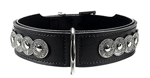 HUNTER BASIC ROM Hundehalsband, beschichtetes Spaltleder, Kunstleder, Münzen-Dekor, 55 (M), schwarz