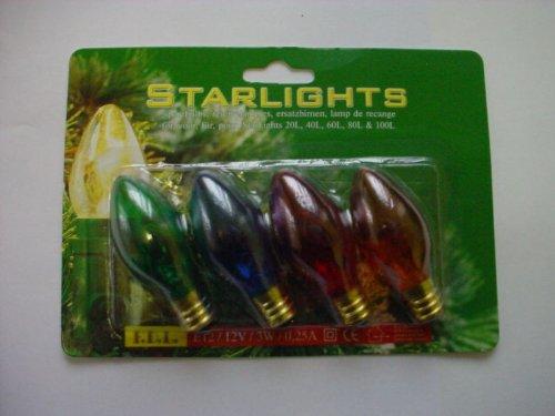 MRS CHRISTMAS 4 E12 Multi Screw in Tulip Bulbs -12V 3W 0.25A-32