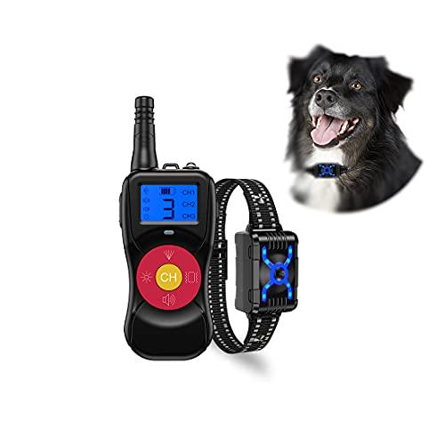 Bikirin Verbessertes Antibell Halsband mit 800M Fernbedienung, USB Wiederaufladbares Anti-Bell-Hundehalsbänder mit Spray/Vibration/Ton Modi für Hundetraining, für Kleine, Mittelgroße und Große Hunde