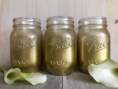 3 Piece Set Gold Glitter Painted Mason Jars Rustic Centerpieces Unicorn Birthday Party Supplies - Christmas Home Decor