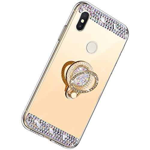 Herbests Kompatibel mit Xiaomi Redmi S2 Hülle Glitzer Kristall Strass Diamant Silikon Handyhülle mit Ring Halter Ständer Schutzhülle Überzug Spiegel Clear View Handytasche,Gold