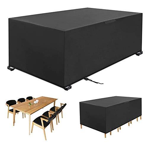 WOEOA Funda para Muebles de jardín Funda para Mesa de Exterior Impermeable, Resistente al Viento y a los Rayos UV, Duradera Tela Oxford 420D, Rectangular