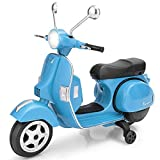 HONEY JOY Ride On Motorcycle, 6V Battery Powered Vespa Scooter w/ Training Wheels, Headlight & Music, Foot Pedal, Key Switch, Electric Motorized Ride On Toy for Toddler Boys Girls Ages 3+ (Blue)