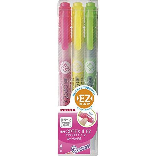 ゼブラ オプテックス1EZ3色セット 【蛍光ペン 3色 黄色 ピンク 緑 みどり マーカー ゼブラ 組み合わせ セット 線引き 多色セット 手帳 事務用品 まとめ買い 見やすい色 目立つ 勉強 使いやすい 240】