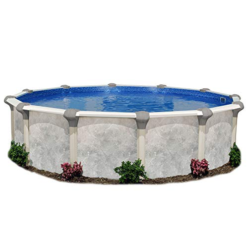 Embassy Pool Co Tahitian 16 Foot x 52 Inch Round Hard Sided Resin Frame Swimming Pool Package with Liner, Filter, Pump, Ladder, and Skimmer, Beige
