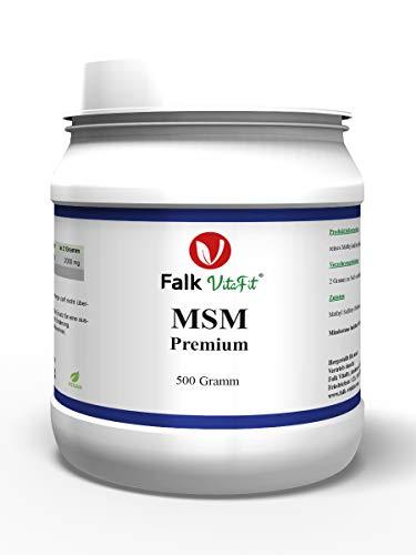 Falk VitaFit MSM Premium Pulver I Kristalle aus organischem Schwefel I 99,9% reines Naturprodukt I 100% Vegan I 500g