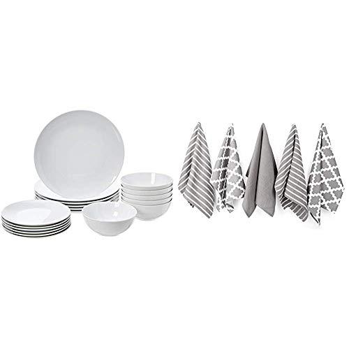Amazon Basics 18-Piece Dinnerware Set - White Porcelain Coupe, Service for 6 & Penguin Home - 100% Cotton Tea Towel Set of 5 - Soft - Durable - Stylish Grey Design with Multiple Patterns - 65 x 45cm