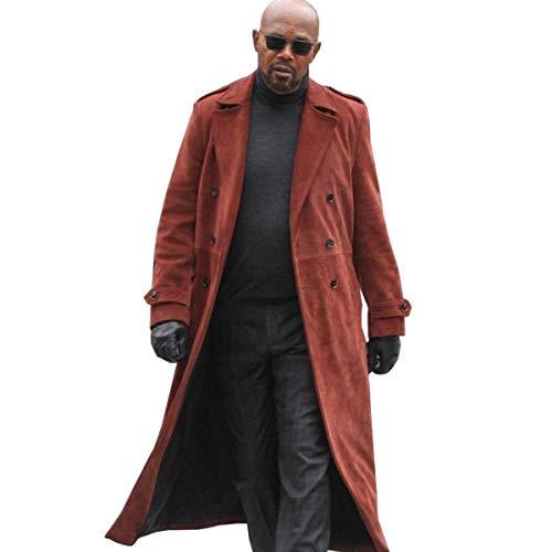 Fashion_First John Shaft II Samuel Jackson Herren-Trenchcoat aus Veloursleder, Rot, Rot - Schaft mit rotem Mantel. - Größe: X-Large