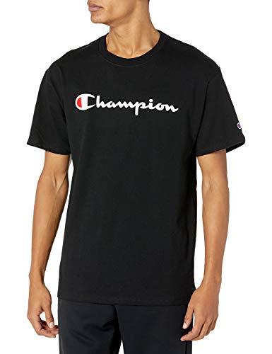 Champion Men's Classic Jersey Script T-Shirt, Black/Black, XX-Large
