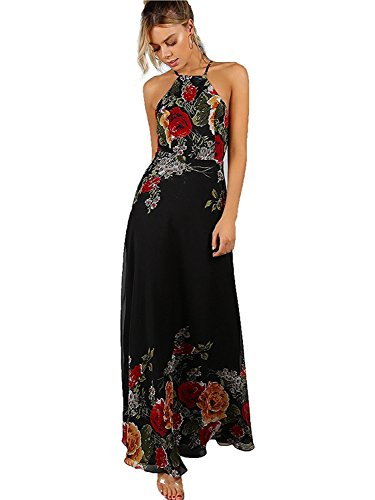 "Polyester, no stretch Sleeveless, halter neck, backless, zipper back, maxi dress Vintage style, flower printed, full length, for party, cocktail, evening, club, holiday, etc Models in picture are about 175cm/5'9"" in height, wear S size, with a pair o..."