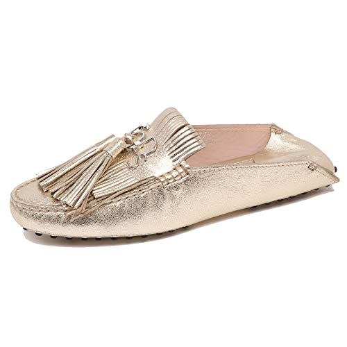 Tod's F3204 Mocassino Donna Gold Scarpe Sabot Loafer Shoe Woman [38]