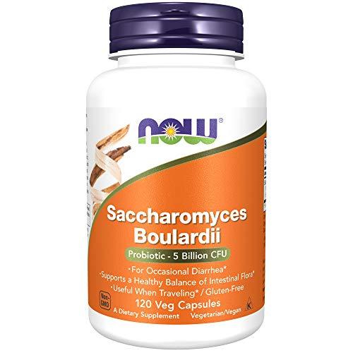 NOW Supplements, Saccharomyces Boulardii, 5 Billion CFU Probiotic, 120 Veg Capsules