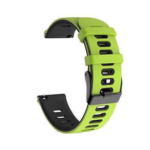 Pulsera Deportiva De Silicona Suave De 20 Mm 22 Mm para La Pulsera De La Correa De Xiaomi LS05 para Huawei Watch GT 2 WheamBand Band para Garmin Forerunner245 (Color : Green Black, Size : 20MM)