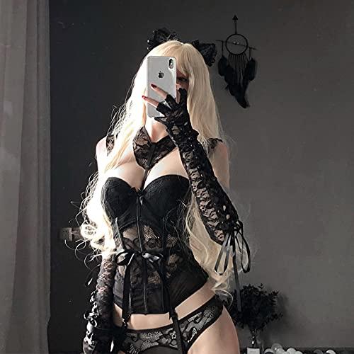 SEXYSY Disfraces Sexy corsé de Encaje erótico Mujeres Maid Cosplay Bustier lencería Tops Brocado Muslo-Altos Liguero Moda