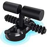 Sit Up Bar with Massage Roller, Portable Self Suction Strength Training Equipment with 4 Adjustable Positions and 2 Suction Cups, Sit Up Foot Holder Muscle Training Exercise Equipment for Home or Work
