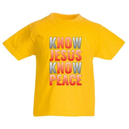 lepni.me Camiseta para Niño/Niña ¡Conoce a Jesús, Conoce la Paz! ¡Jesús los Salva a Todos! Pascua de Resurrección (3-4 Years Amarillo Multicolor)