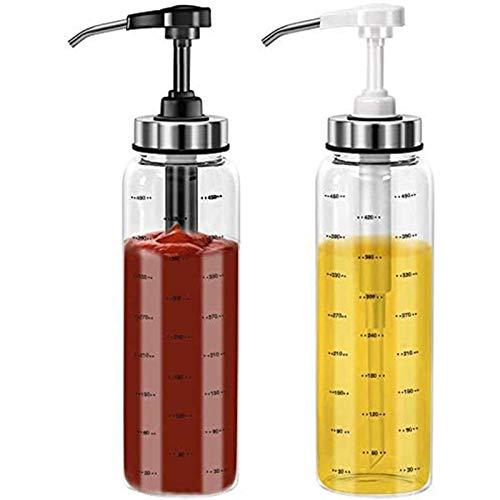 Juego de botellas de squeeze Squeeze de la salsa, juego de botellas de vidrio del dispensador de aceite de oliva de 500 ml, sin goteo de la ensalada de ketchup sin plomo aderezo de ensalada de miel pr