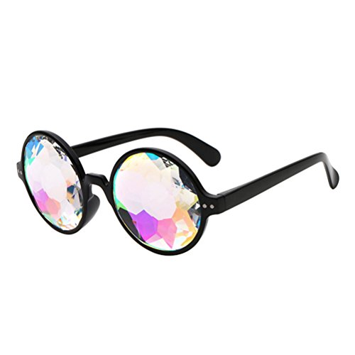 LUOEM 4D Gafas de caleidoscopio Gafas de Sol de Arco Iris Gafas para Festivales Rave Light Show (Marco Negro sin Agujeros)