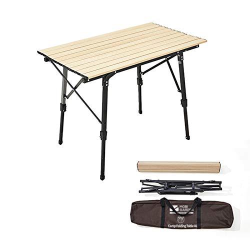 HMM Natural Mesa Terraza Madera Mesa Plegable Portátil Ajustable Silla Plegable Camping El Escritorio Se Puede Enrollar con Bolsa De Almacenamiento/ 90x53x45~68cm