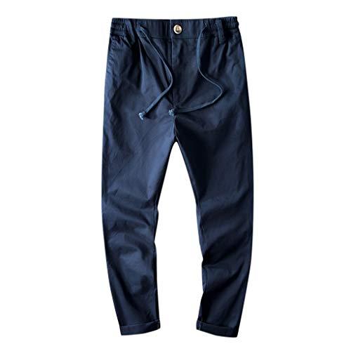 Panty's, joggingbroek, brede broek, heren, joggingbroek, vrije tijd, katoen, ademend, losse lange broek, pure kleur rechte broek Large donkerblauw