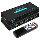 Switch HDMI 4K SGEYR 5x1 Commutateur HDMI Répartiteur 5 Entrées 1 Sorties Switcher HDMI Splitter avec Télécommande IR Prend en Charge 4K@30Hz UHD 3D 1080P pour PC/PS4/Xbox/TV Box