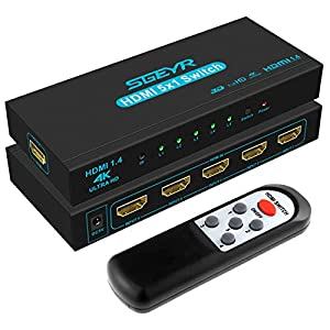【4K HDMI Switch 5 In 1 Out】-- SGEYR 5x1 HDMI Wahlschalter kann 5 HDMI Signalquellen an 1 HDMI Display anschließen, wodurch alle HDMI Geräte gleichzeitig funktionieren. Keine Software oder Treiber erforderlich. Es kann über die Fernbedienung und die G...