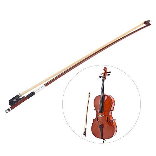 ammoon Octagonal 4/4 Cello Bow Horsehair Round Stick Ebony Frog Brazilwood (1/2 Size)