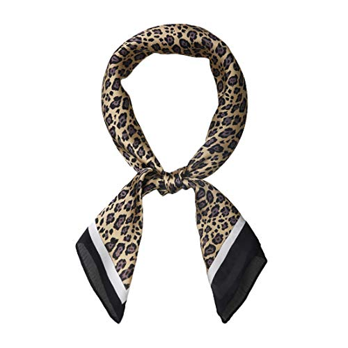 Allegra K 70cm Animal Leopard Print Silk Like Square Scarves Kerchief Neck Head Scarf Neckerchief Bandana Light Yellow