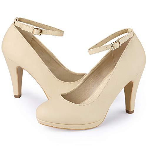 Allegra K Damen Round Toe Stiletto Buckle Ankle Strap High Heels Pumps Beige 37