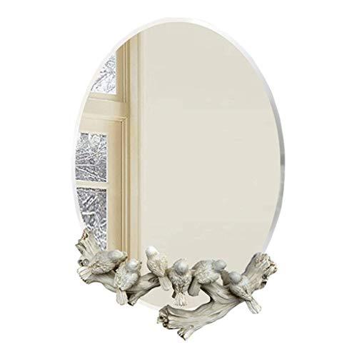 LKK-KK Llevado Espejo de Maquillaje Espejo de Maquillaje Espejo montado en la Pared con Sparrow,decoración de Pasar el Espejo de baño Compatible with el Dormitorio Compatible with niñas