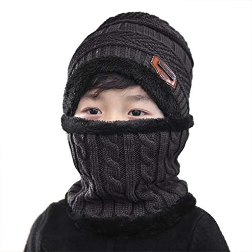 Cartoon Winter Hats Ski Cap for Girls Boys Windproof Thermal Fleece Trapper Hat with Earflap Face Mask (Grey Knitted Hat+Scarf)