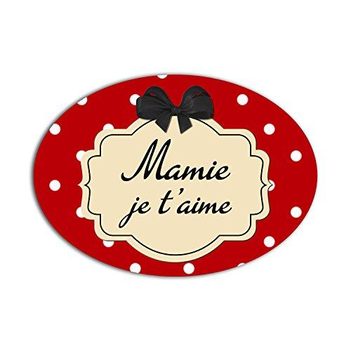 YONACREA - MAGNET OVALE - Mamie Je t'aime - Fond Rouge