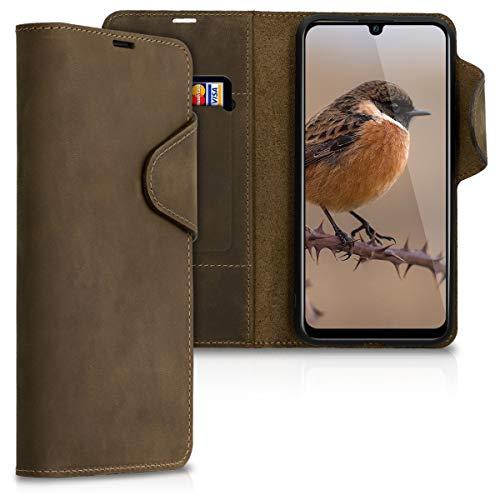 kalibri Hülle kompatibel mit Huawei P Smart (2019) - Leder Handyhülle Handy Hülle Cover - Schutzhülle in Braun