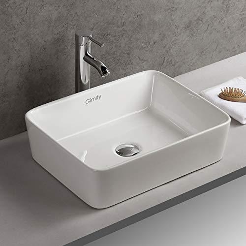 Keramik Aufsatzwaschbecken, Gimify Badezimmer Waschbecken Handwaschbecken Gaste WC Weiß, 48x38x13cm