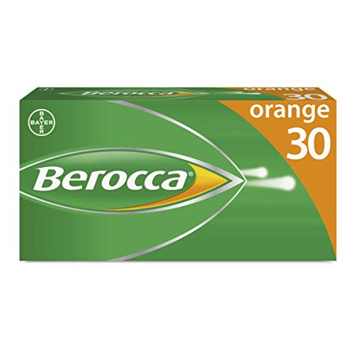 Berocca Vitamin C Effervescent Tablets, with Magnesium, Vitamin B12 & Vitamin B Complex, Orange Flavour, 1 Pack of 30 Tablets - 1 Months Supply